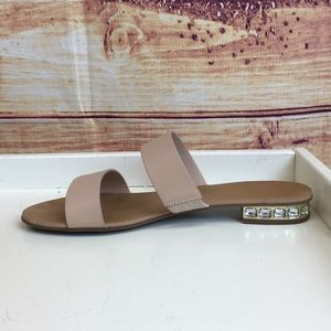 Dune Double Strap Tan Leather Jewel Heel Sandal